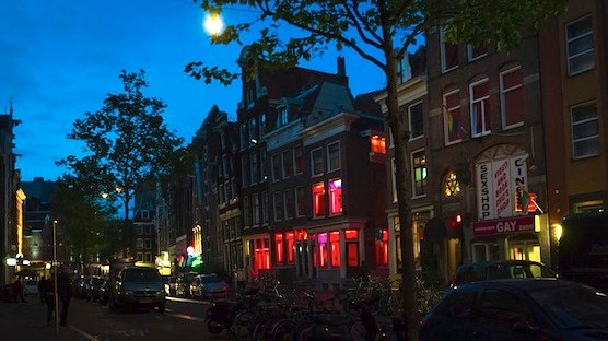 An interview with male prostitute in Amsterdam's Red Light District.