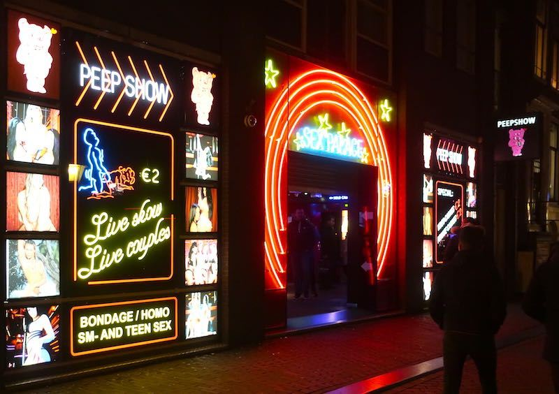 Amsterdam Peep Show At Night