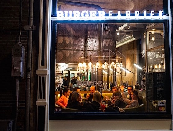 Restaurant Burger Fabriek in Amsterdam Red Light District