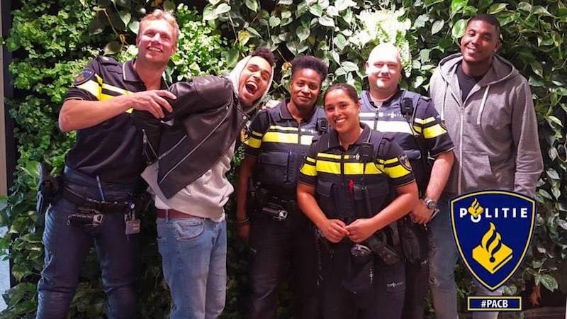 Amsterdam police in the Red Light District caught Chris Brown